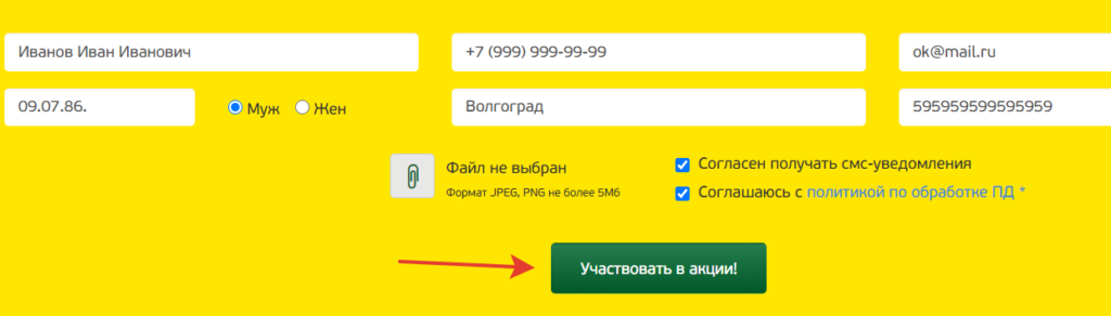 Зарегистрировать чек на pokupochka.ru